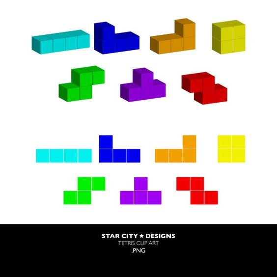 Tetris Clip Art Clipart Vector Art Graphics for by StarcityDesigns.
