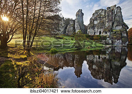 "Stock Photography of ""Externsteine, sandstone rock formations."