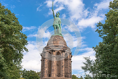 Hermann Monument In The Teutoburg Forest In Germany. Stock Photo.
