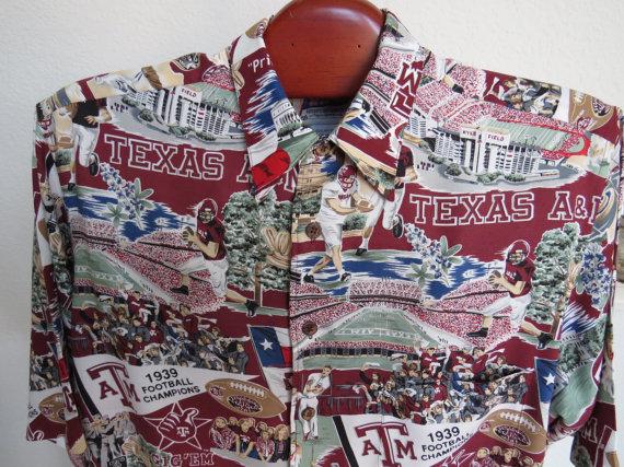 Vintage Mens Texas A&M University Camp Shirt by Reyn Spooner.