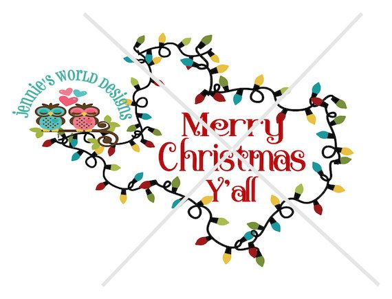 Merry Christmas Y\'all Texas, Lights SVG/DXF/PNG.