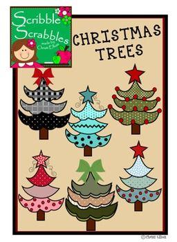 CHRISTMAS CLIPART {Texas Twist Scribbles}.