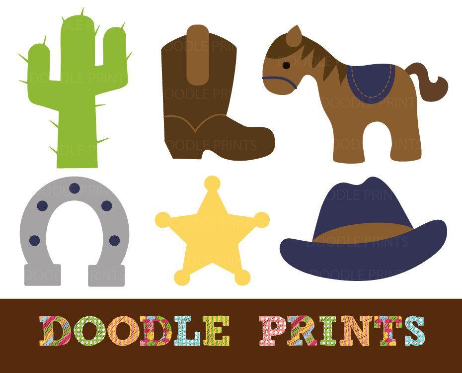 Cowboy Clipart, Digital Clip Art Printable, Cowboy Western.