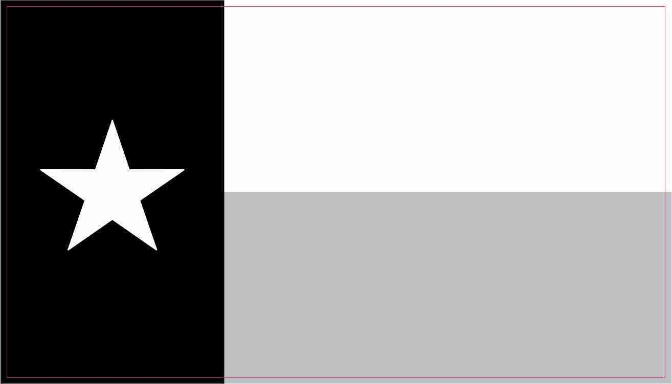 4.25in X 2.5in Black and White Texas Flag Stickers Vinyl Vehicle Decals.