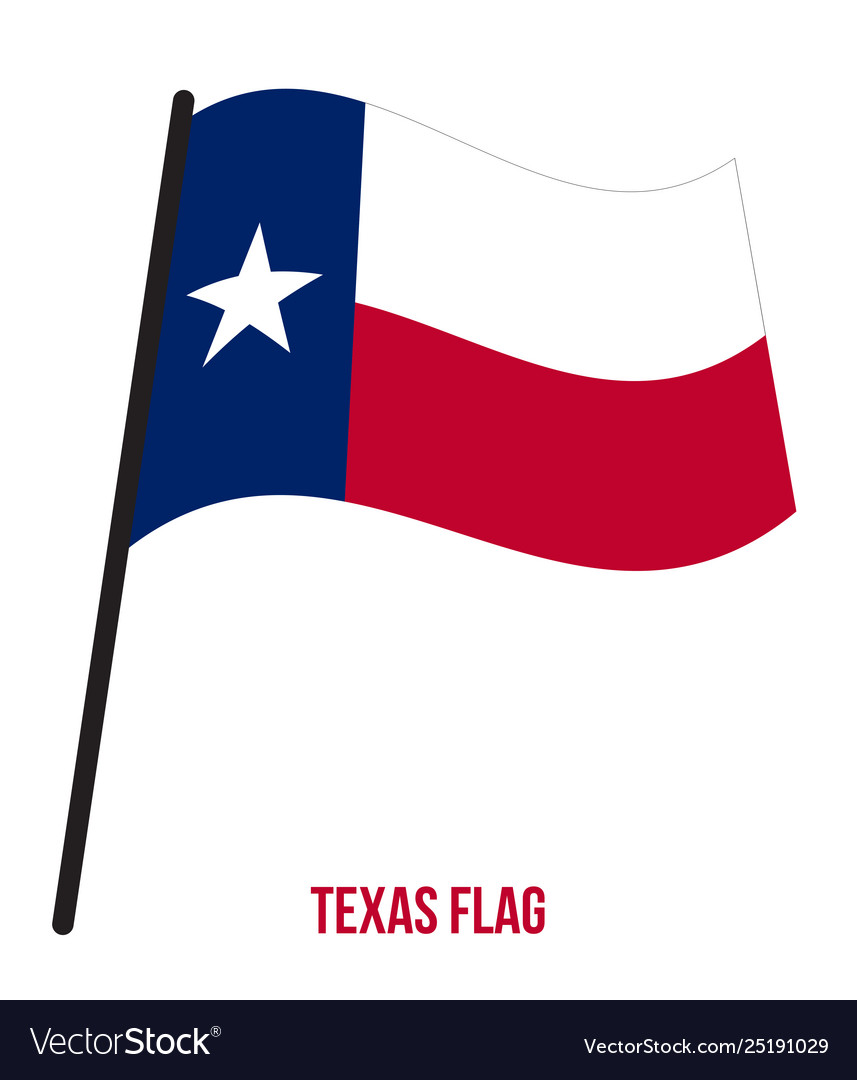 Texas us state flag waving on white background.