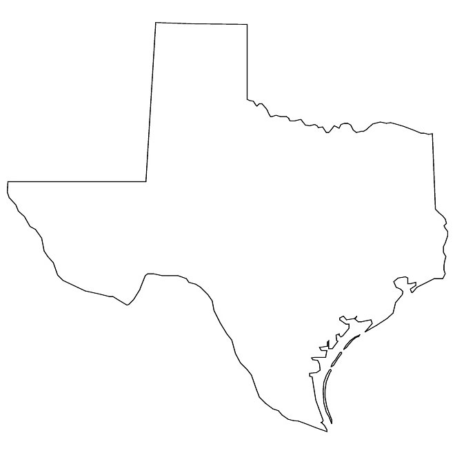 Outline vector map of Texas.