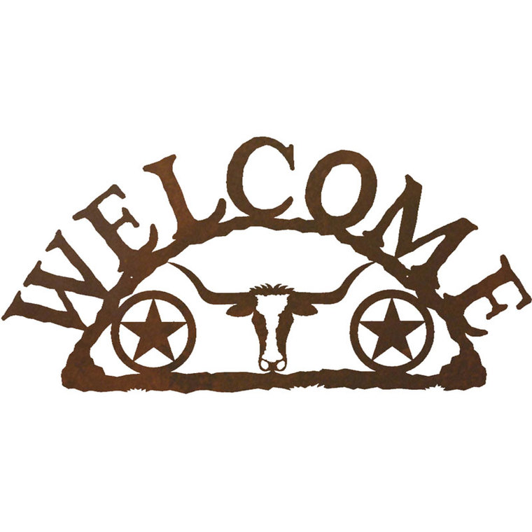 Longhorn Texas Star Horizontal Welcome Sign By Ironwood.
