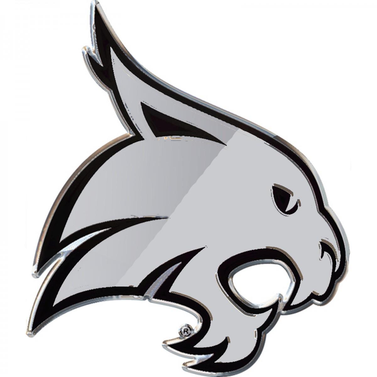 Texas State Bobcats Logo Chrome Premium Solid Metal Car Auto Emblem.