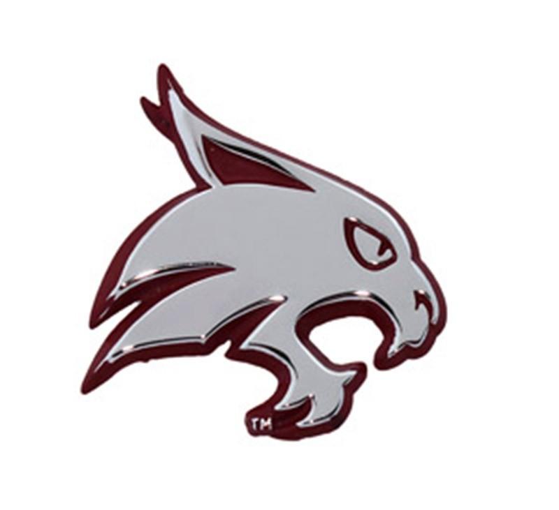 Texas State Bobcats Logo Chrome Solid Metal Auto Emblem Maroon Edge.