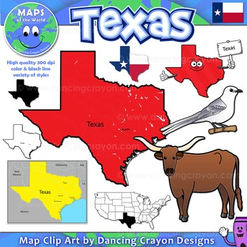 Texas State Symbols and Map Clipart.
