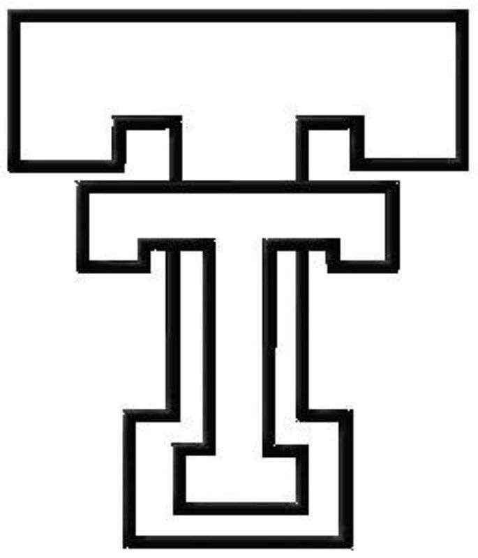 Texas Tech black and White logo for pattern plans.