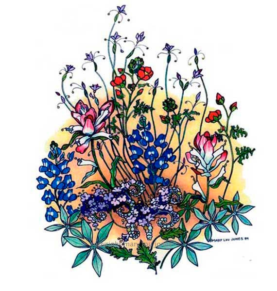 Items similar to Texas Spring wildflower print, bluebonnet.