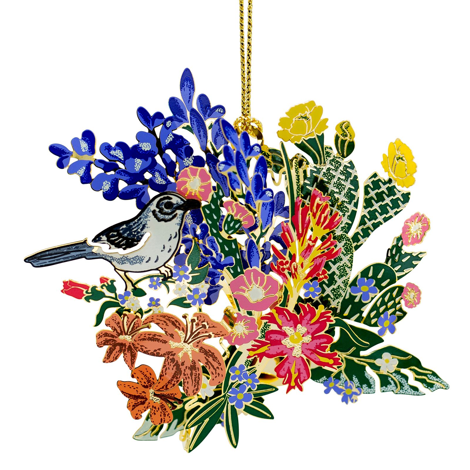 Mockingbird with Wildflowers Ornament.