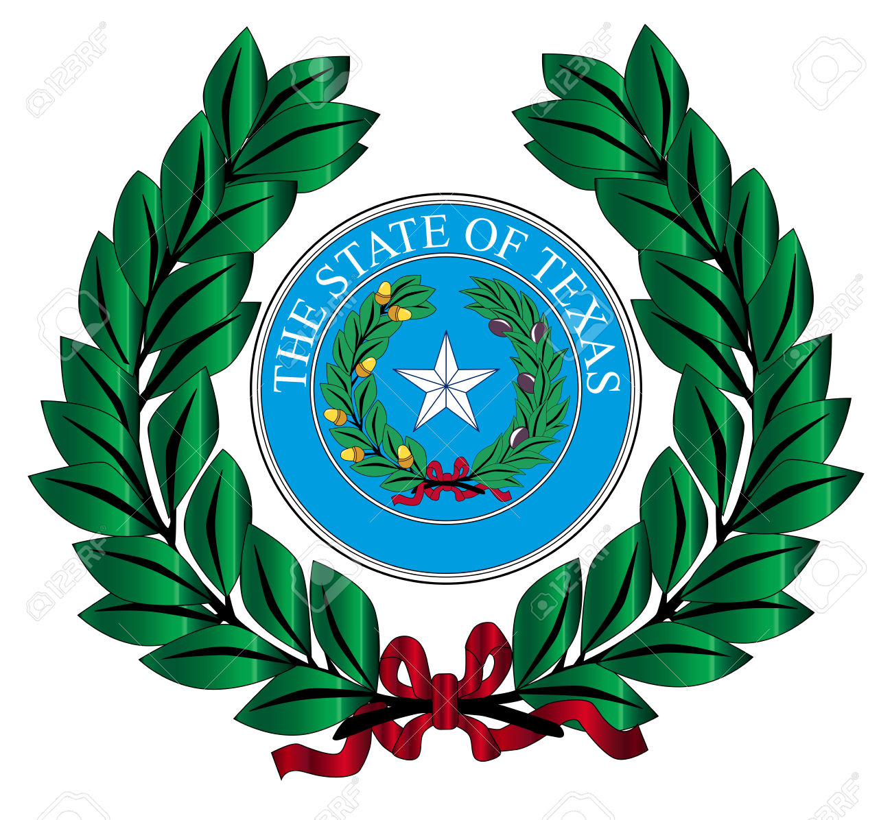 A Wreath With The Texas State Seal Over White Royalty Free.
