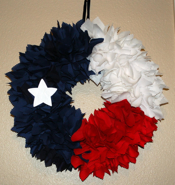 Texas Flag Fabric Wreath.