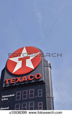Stock Photograph of England, London, Islington. Texaco petrol.