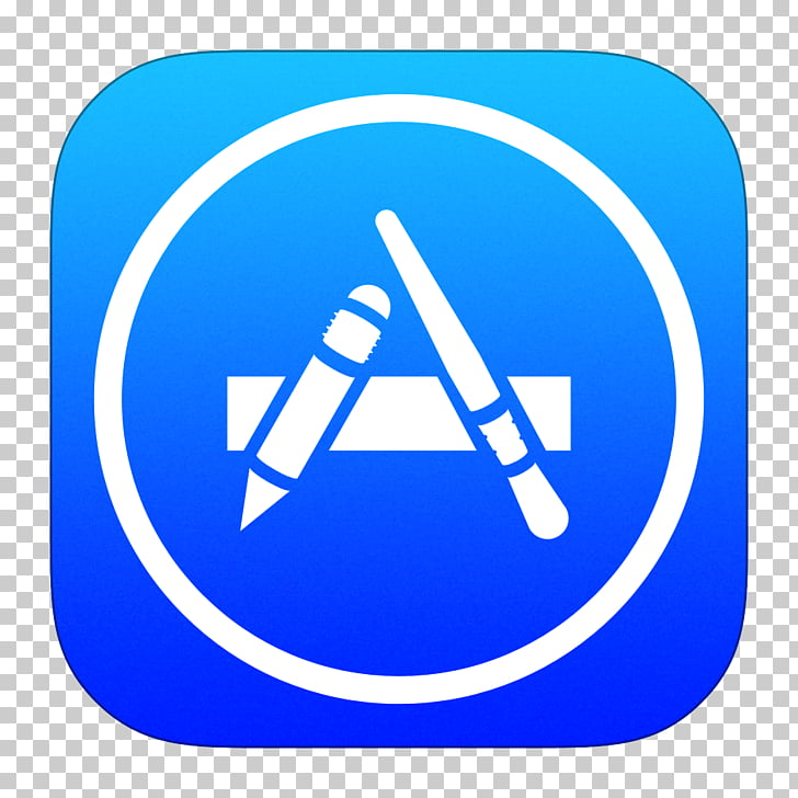 Blue computer icon area text, App Store, iOS App Store icon.