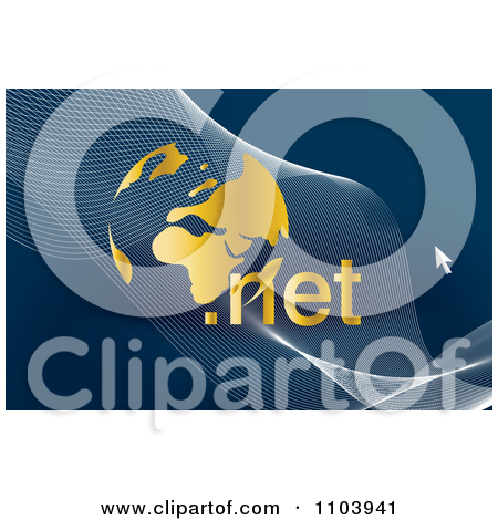 Clipart Gold Globe With A Cursor Swooshes And Domain Text.