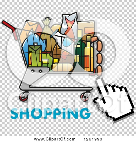 Clipart of a Hand Cursor over a Shopping Cart Full of Groceries.