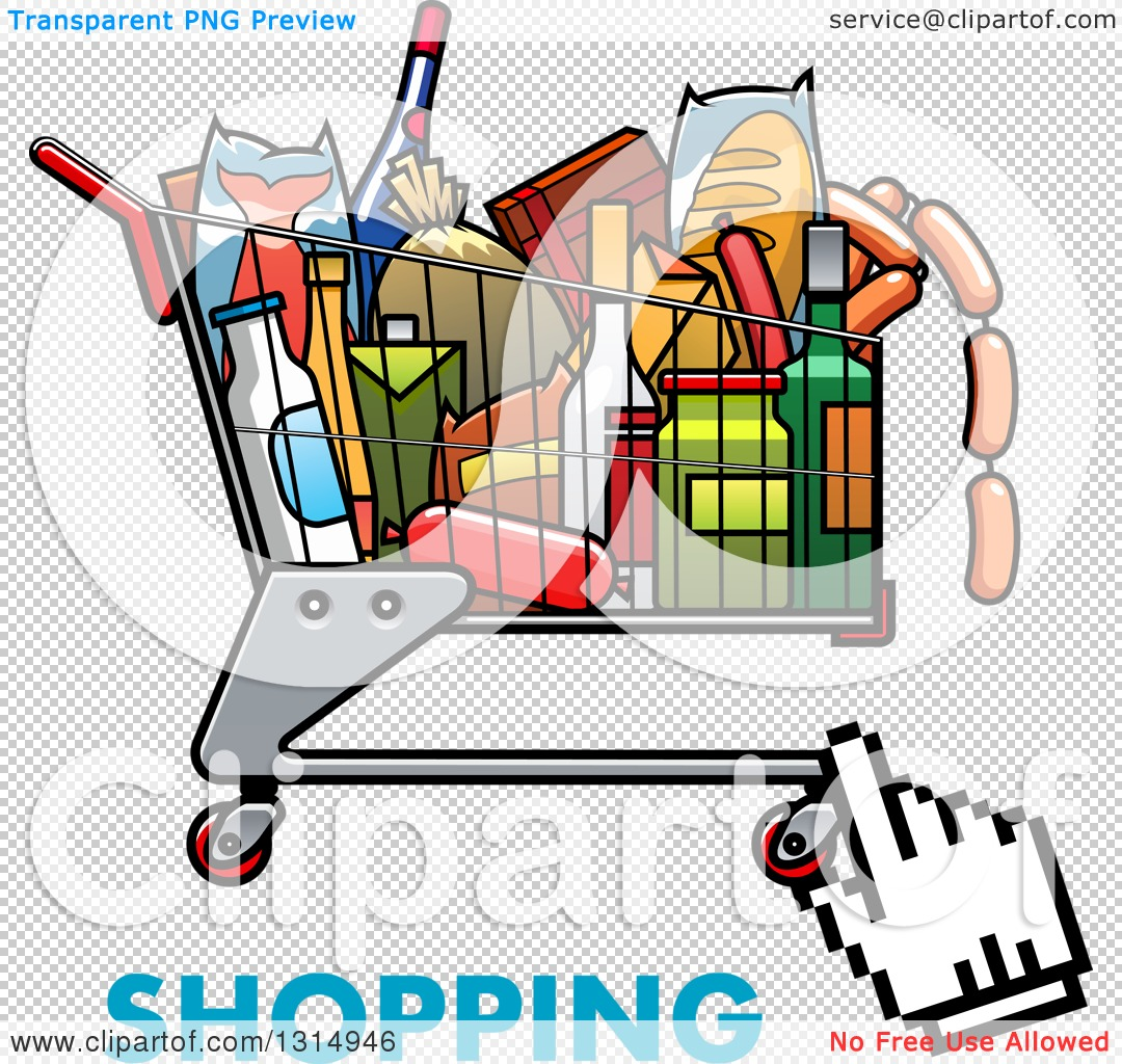 Clipart of a Hand Cursor over a Cart Full of Groceries, with Text.