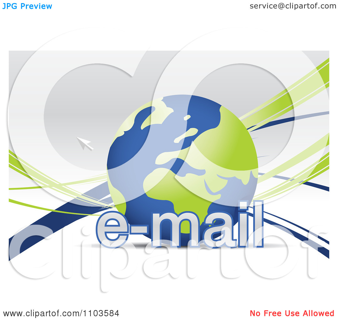Clipart Globe With A Cursor And Email Text.