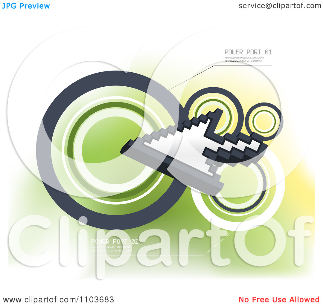 Clipart Computer Cursor And Circles With Sample Text On Green.