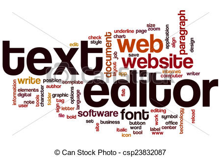 Stock Illustration of Text editor word cloud concept csp23832087.