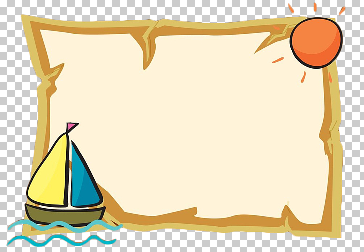 Cartoon , Cartoon sea border text box, sailboat and sun.