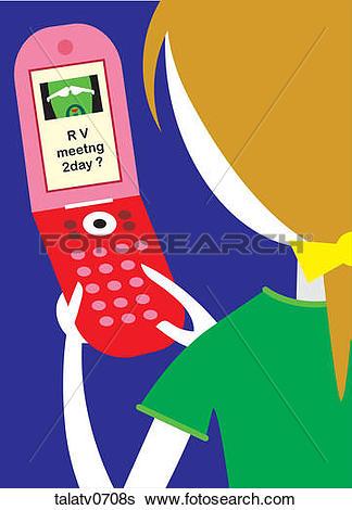 Stock Illustration of Woman Sending a Text Message talatv0708s.