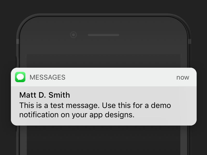iOS 10 Message Notification Sketch freebie.