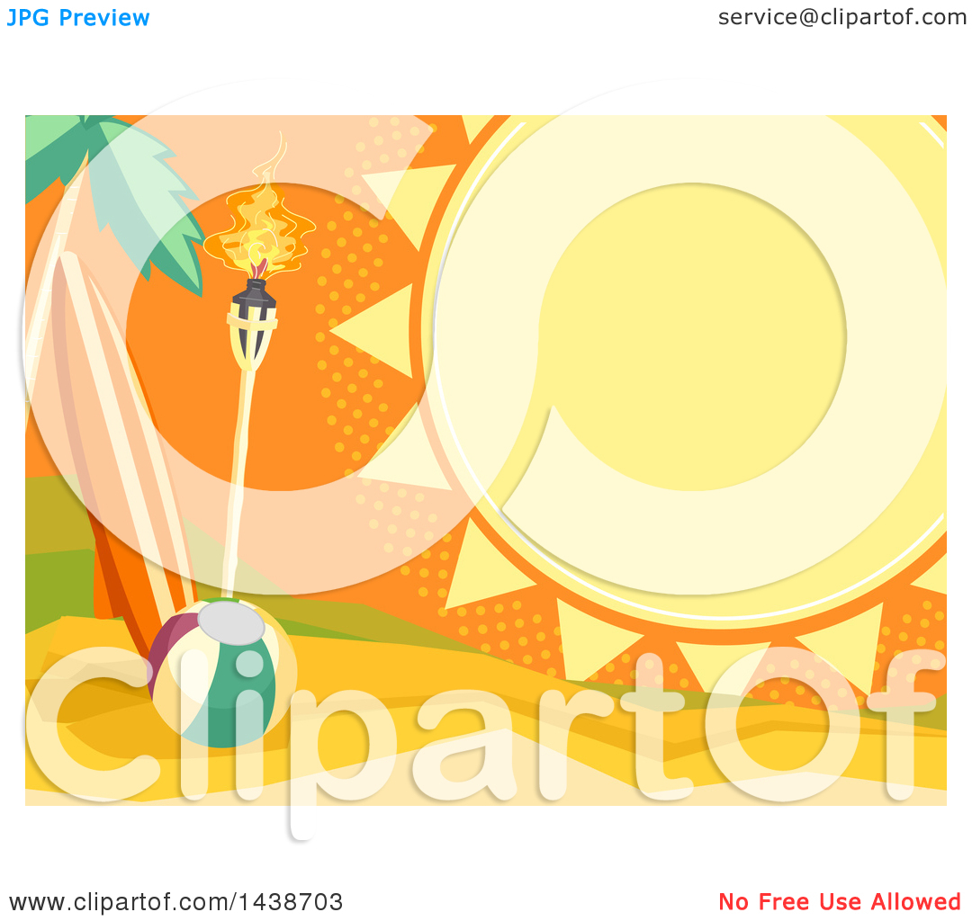 Clipart of a Summer Sun Frame with Text Space, over a Tropical.