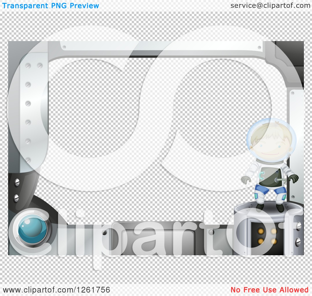 Clipart of a Futuristic Computer Screen Astronaut Frame with Text.