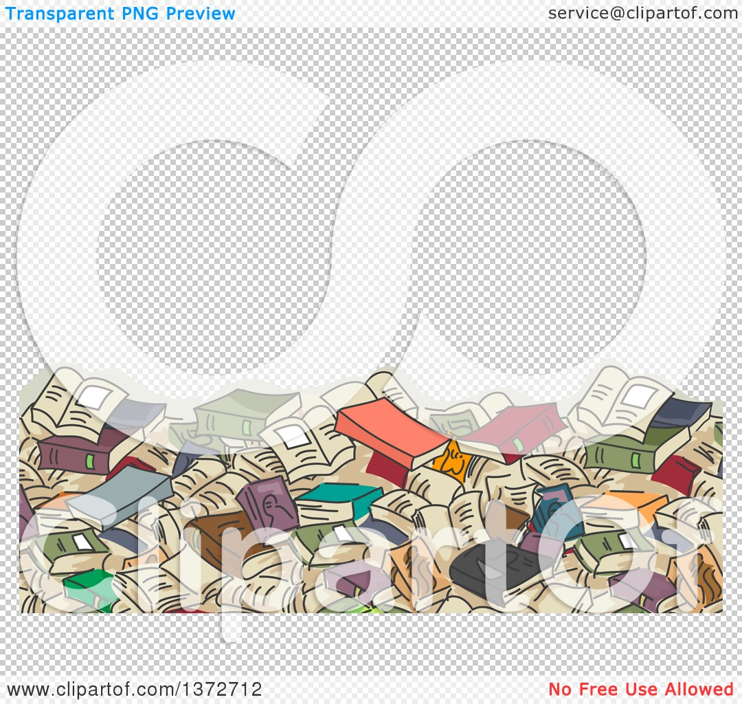 Clipart of a Background of a Giant Book Pile and Text Space.