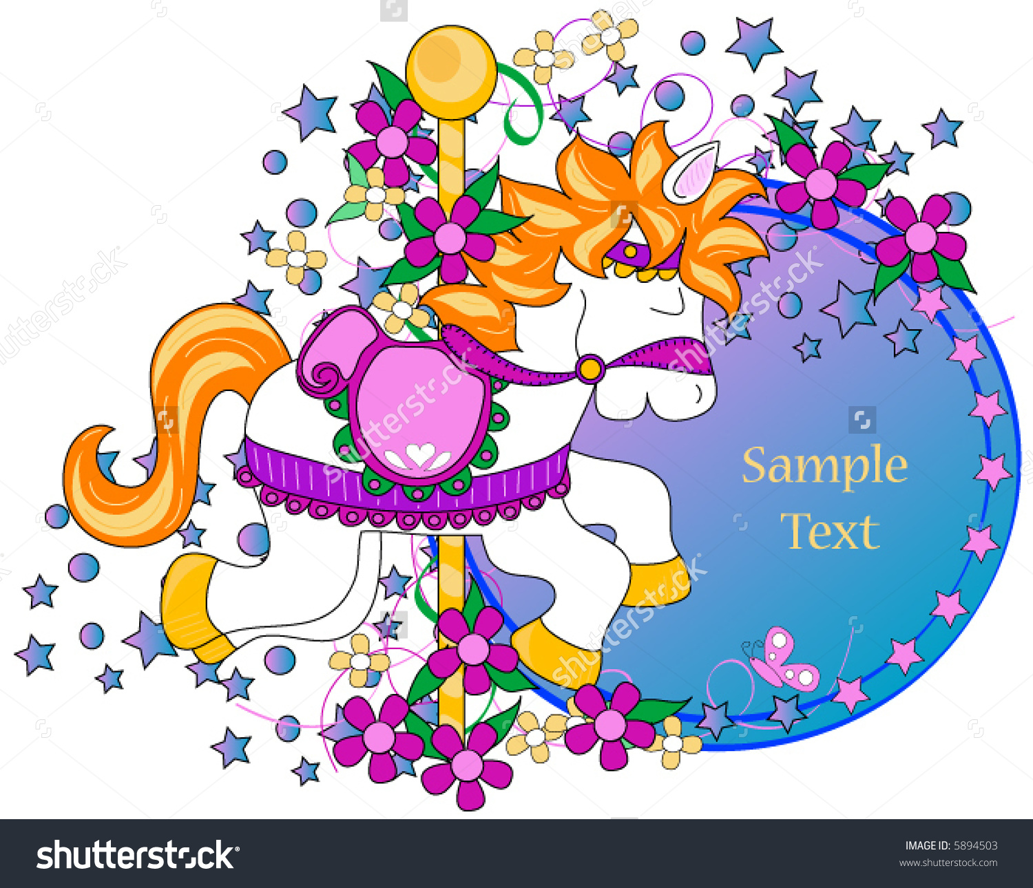 Carousel Horse Clipart Space Text Stock Vector 5894503.