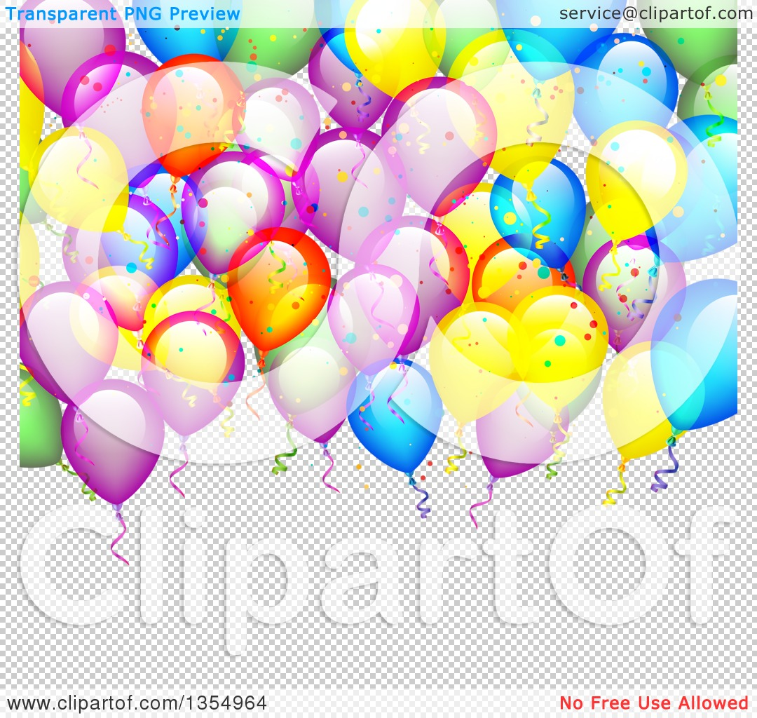 Clipart of a Colorful Party Balloon and Confetti Background over.