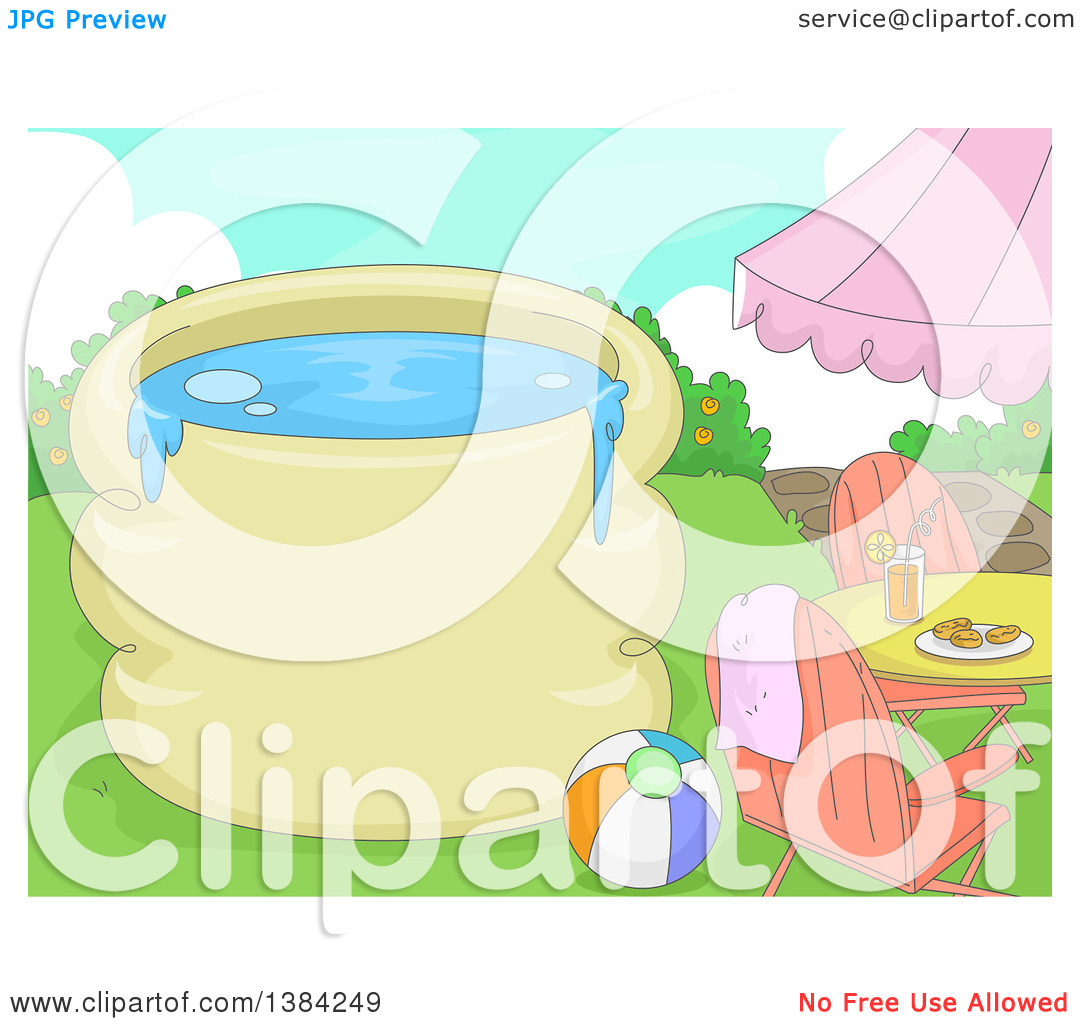 Clipart of a Swimming Pool with Text Space, a Table, Beach Ball.