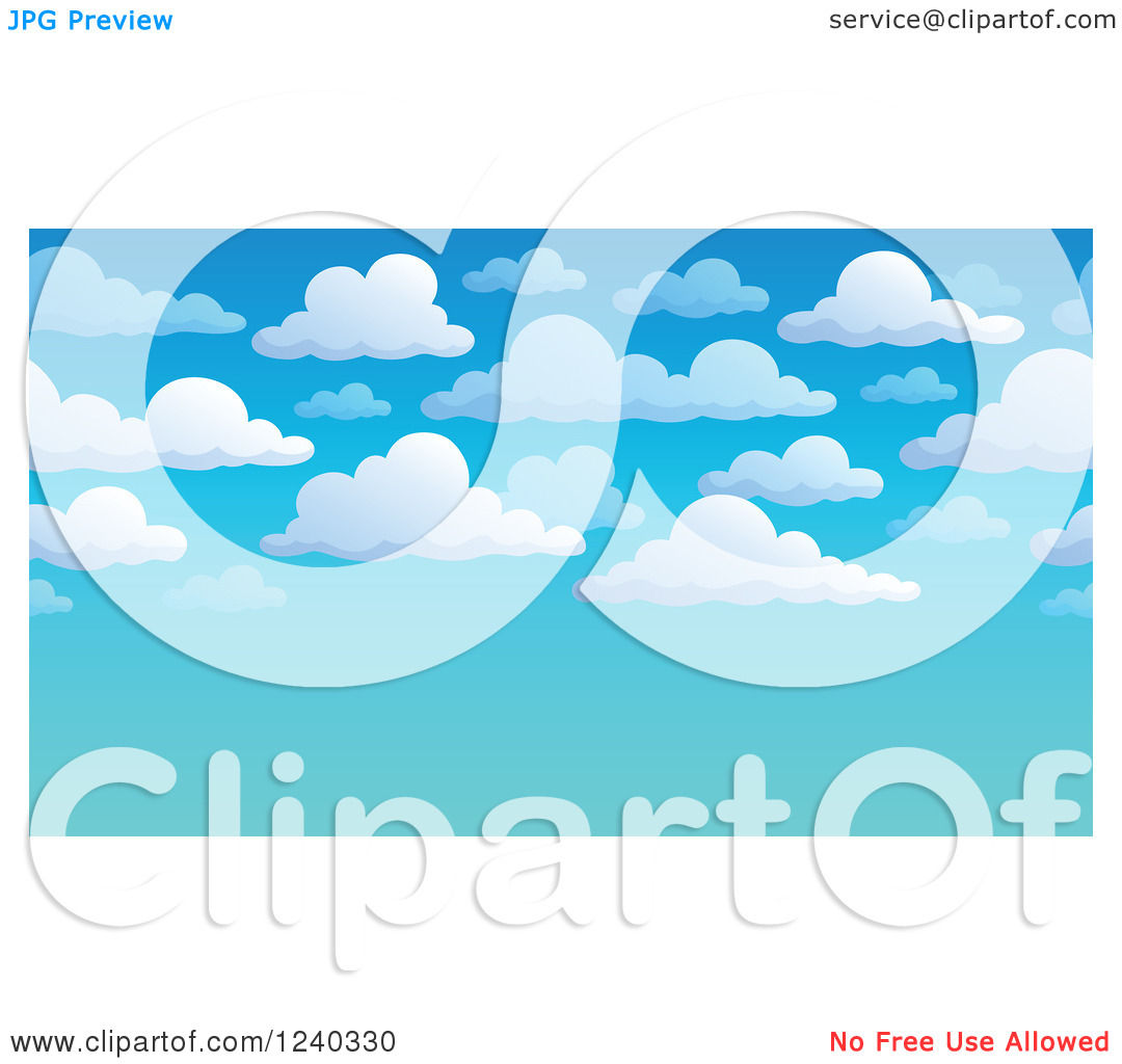 Clipart of a White Cloud and Blue Sky Background with Text Space.