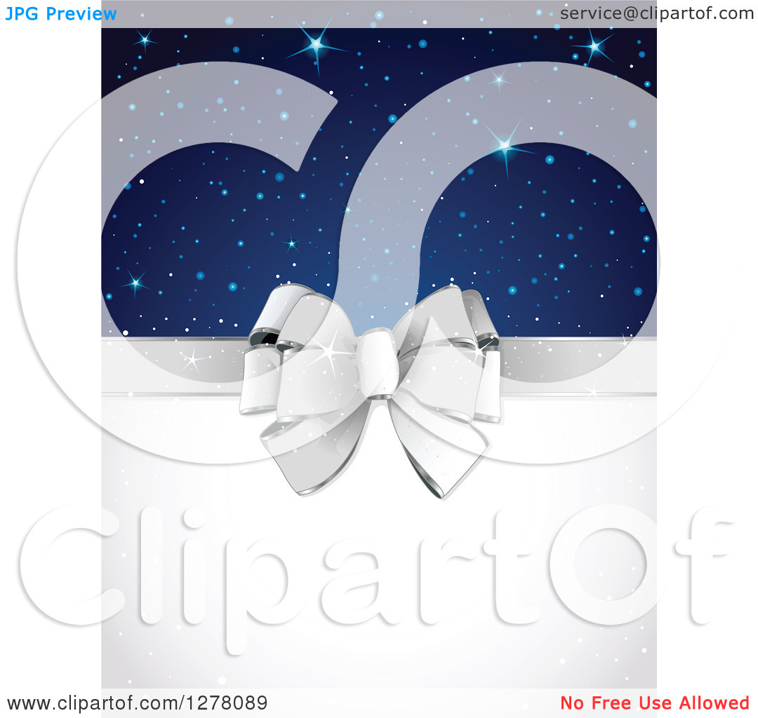 Clipart of a Silver Gift Bow and White Text Space with Stars and.
