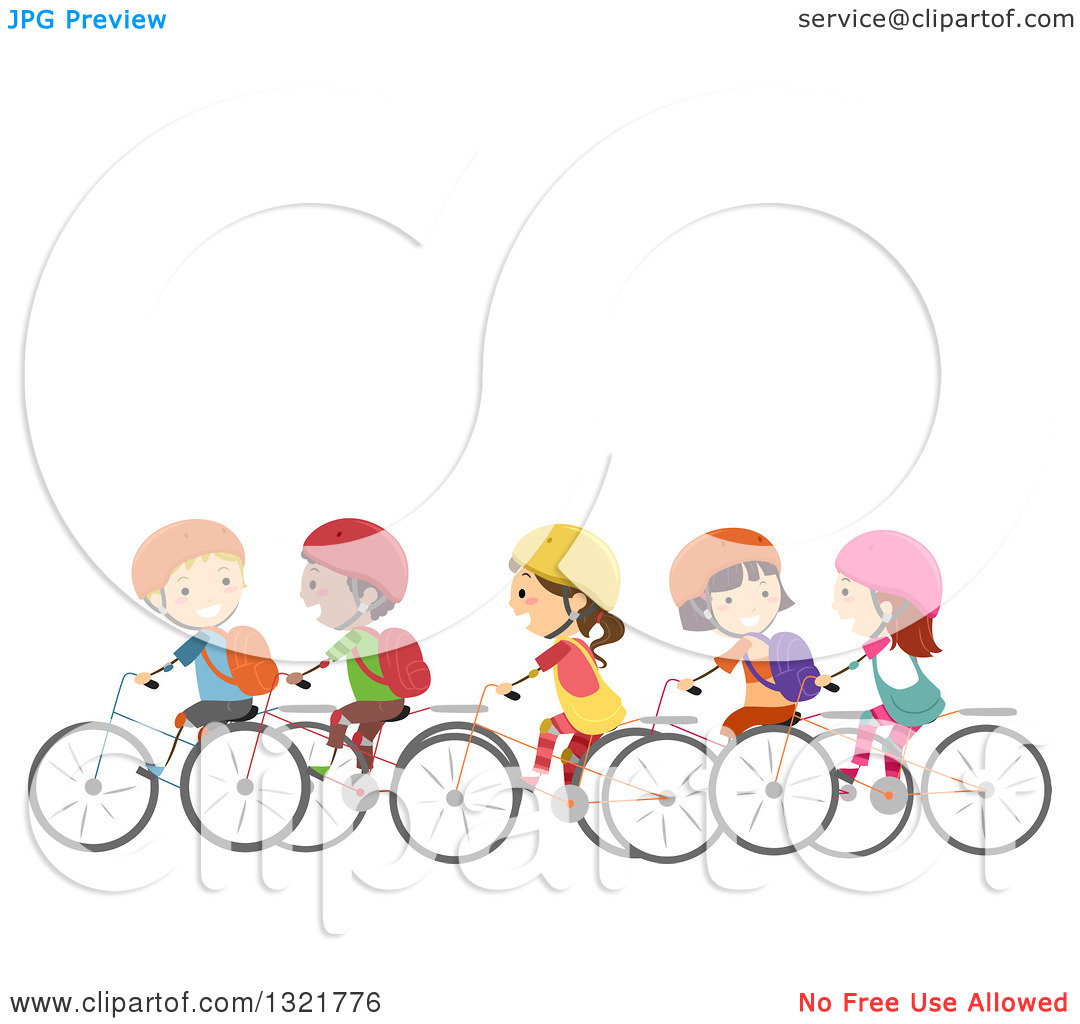 Clipart of a Line of Happy Children Riding Bicycles Together.