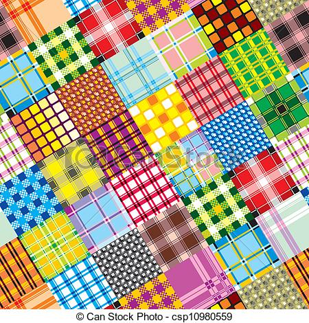 Clipart Vector of textile patchwork square.