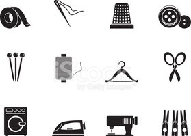 Silhouette Textile Objects and Industry Icons stock vectors.