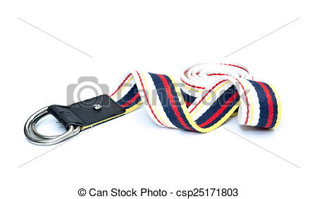 Stock Photography of fabric strap belt isolated on white.