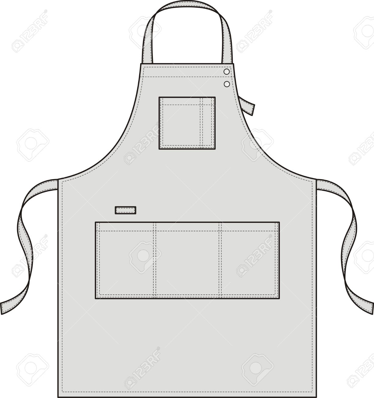 Apron With Pockets, A Shoulder Strap And A Belt Royalty Free.