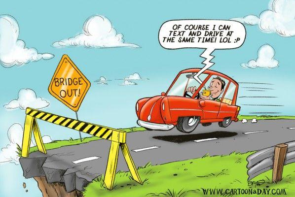 Texting While Driving Cartoon.