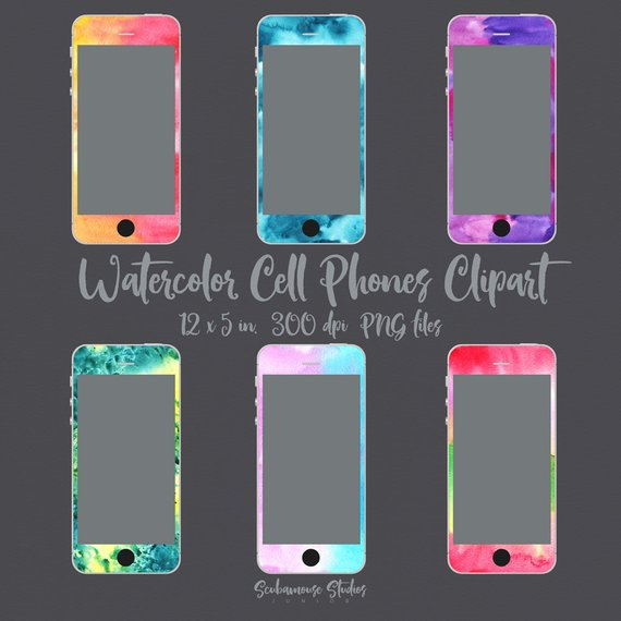 THRU 5/11 ONLY watercolor clipart, cell clipart, texting.