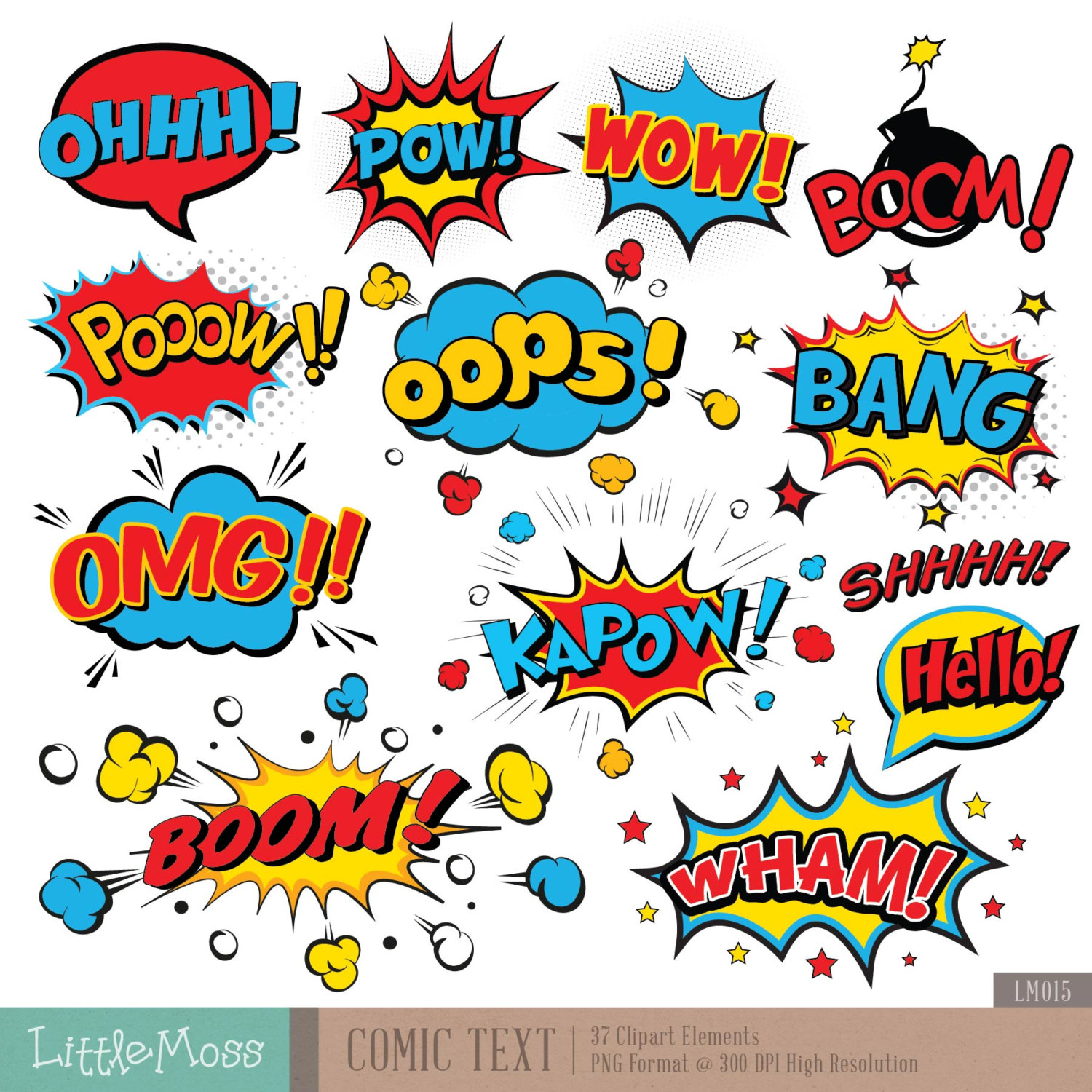 Comic Text Digital Clipart, Superhero Text Clipart, Superheroes.