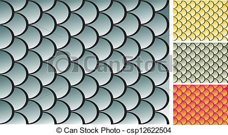 Vector Clip Art de pez, textura, escalas.