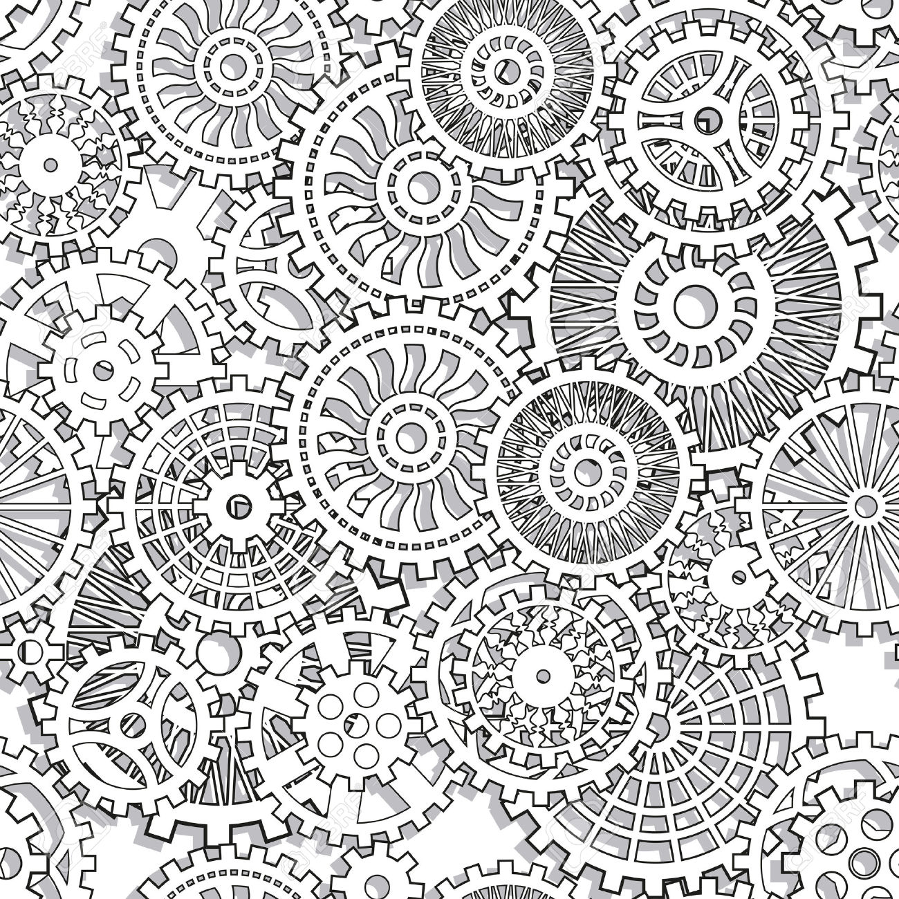 Seamless Texture Gear Wheels Illuctration Clip Art Royalty Free.