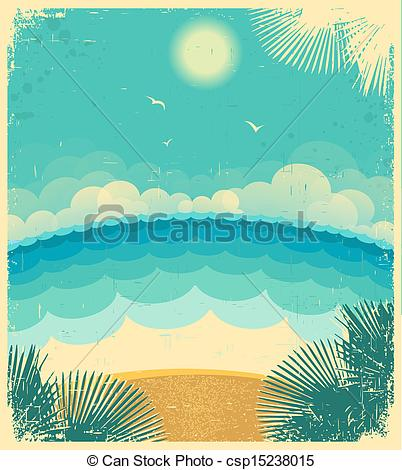 Vector Clip Art of Vintage seascape.Vector background with sea and.