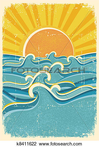 Clipart of Sea waves and yellow sun on old paper texture.Vintage.